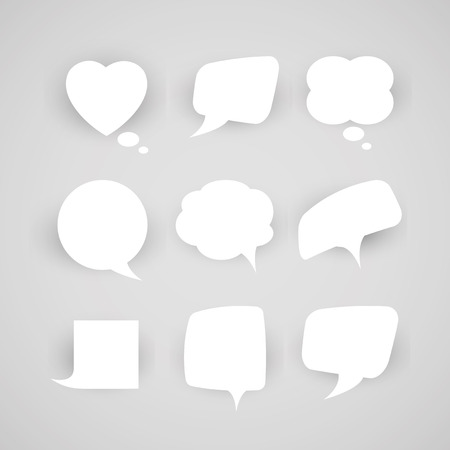 dangle: A collection of chat bubbles of various shapes on a light background.