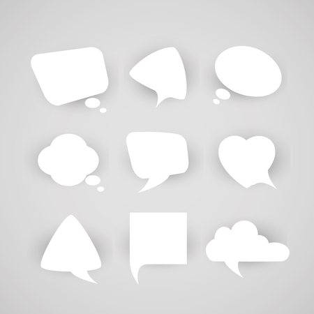 chatter: Collection of chat bubbles of various shapes on a light background. Illustration
