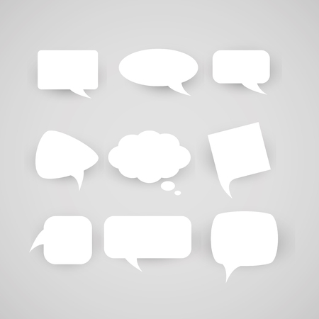 Collection of chat bubbles of various shapes on a light background. Illustration
