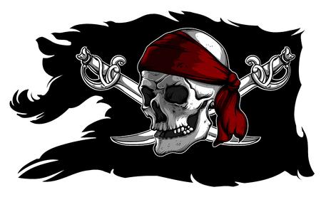 Czarna obdarta piracka flaga z czaszką i sabers