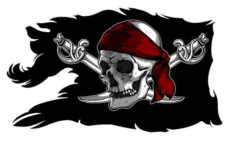 Black ragged pirate flag with skull and sabers