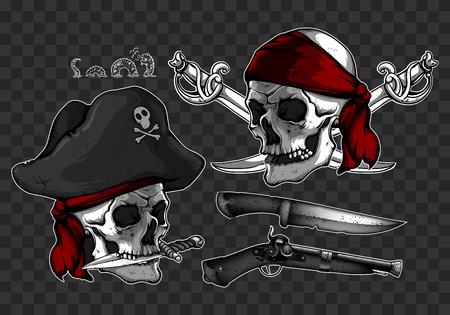 mercenary: Two skulls of pirates, a knife and a gun
