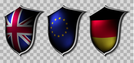 europian: Three shields with flags of different countries on a checkered background Illustration