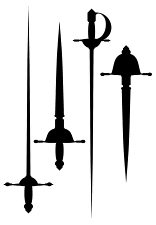 A black silhouettes of ancient cold weapons.