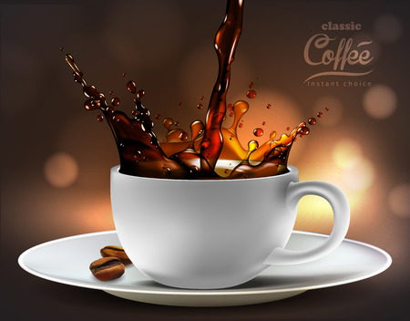 coffee advertising design  with coffee splash elements,  high detailed realistic illustration Illustration