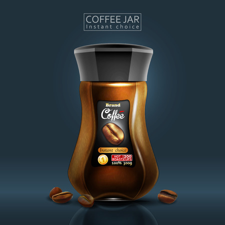 Design of advertising coffee with a coffee jar in blue color Иллюстрация
