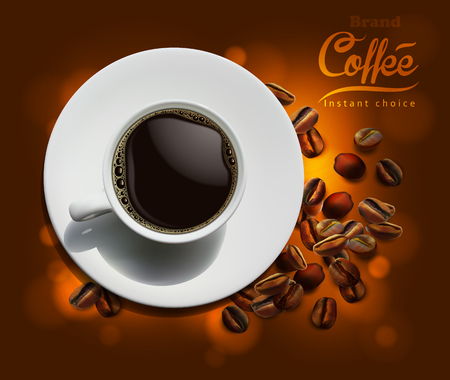 Design of advertising coffee with a picture of a cup of coffee and coffee beans on a golden brown background