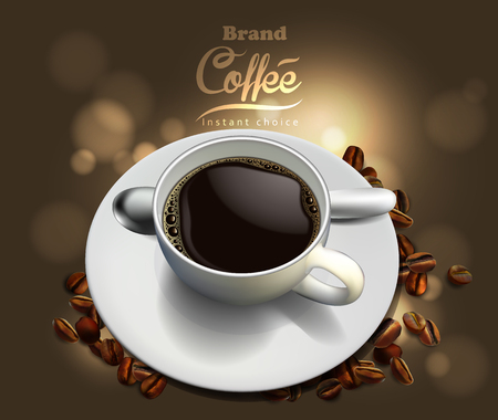 Design of advertising coffee with a picture of a cup of coffee and coffee beans
