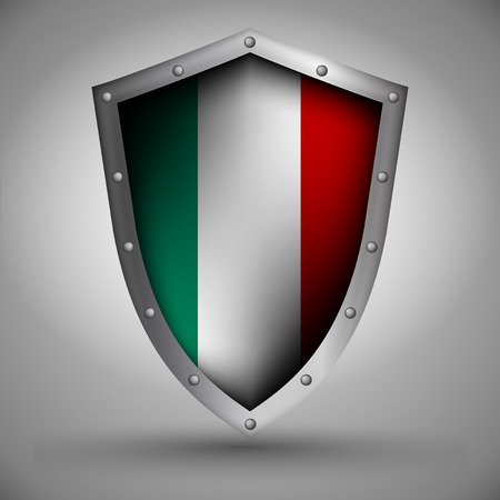 italia: Shield with the image of the Italian flag Illustration