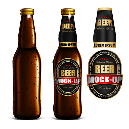 A transparent beer bottle with bubbles, the same bottle with a label and a separate label. Highly realistic illustration.