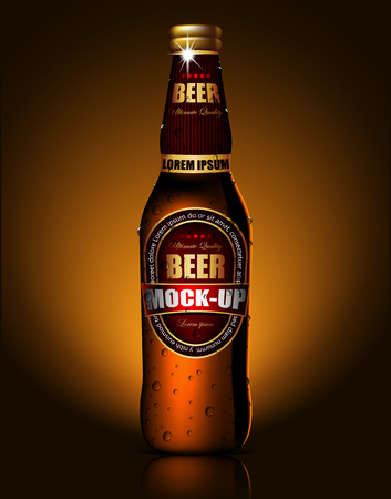 A transparent bottle of beer with droplets of moisture is reflected on the surface of the table. Highly realistic illustration. Vector Illustration