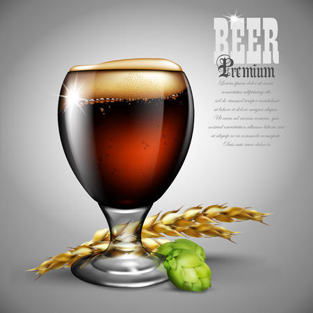 glass reflection: A glass of beer with foam, spikes of barley and a bump of hops. Highly realistic illustration with the effect of transparency.