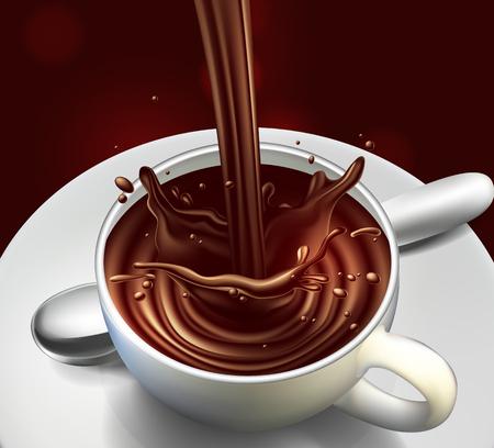 Schokoladenwerbungsdesign mit Spritzenelementen, hohe ausführliche realistische Illustration