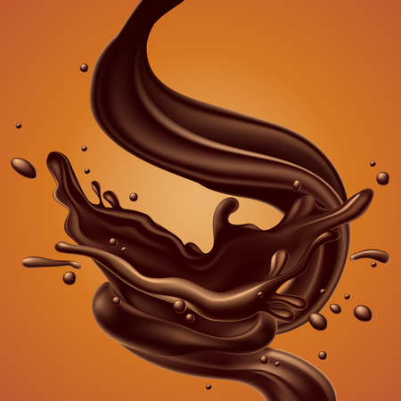 abstract background with chocolate splash effect, high detailed realistic illustration Illustration