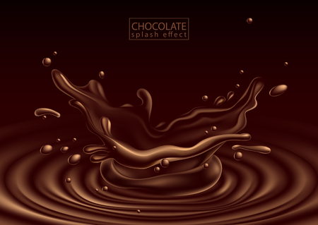 chocolate advertising design  with chocolate  splash effect,  high detailed realistic illustration