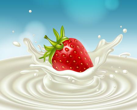 흰 우유의 스플래시에 빨간 딸기. 매우 현실적인 illustrationt입니다.