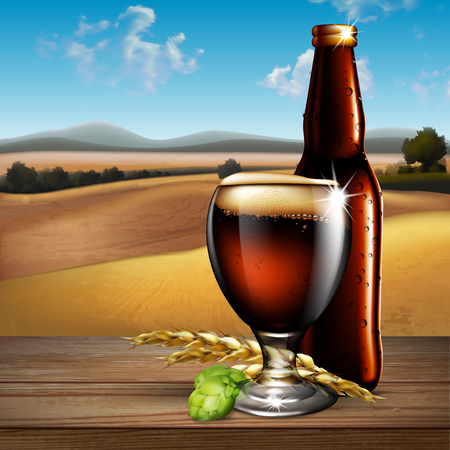 glass reflection: Glass and a bottle of beer on the background of the landscape. Highly realistic illustration with the effect of transparency.
