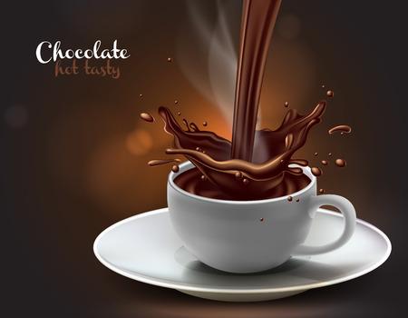 disegno di pubblicità del cioccolato con gli elementi dello spruzzo, alta illustrazione dettagliata realistica Vettoriali