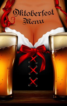 Oktoberfest waitress. Womens festive decollete with beer bottles, high detailed delicious illustration