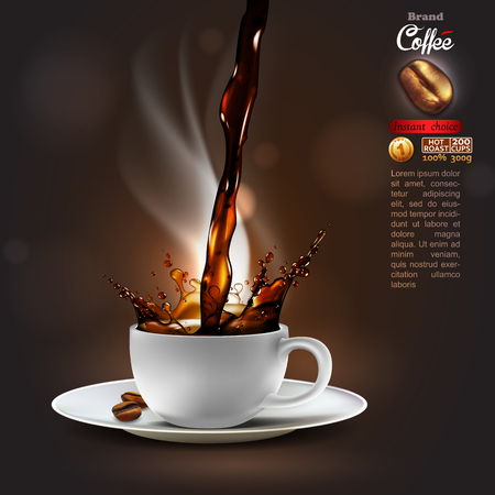 Design advertising coffee with a splash effect and a light trickle steam. high detailed realistic illustration Stock fotó - 84350014
