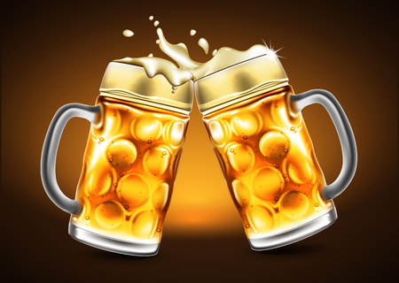 brewery: Traditional glasses of beer with droplets of moisture. Highly realistic illustration with the effect of transparency.