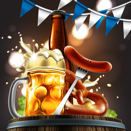 Advertising food and drink elements for traditional beer festival Oktoberfest. Beer glass, sausage and pretzel on special background.Highly detailed illustration. Illustration