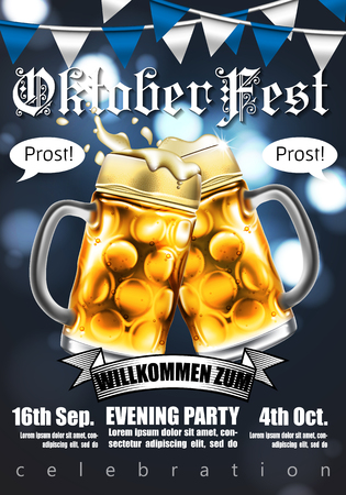 Design poster with food and drink elements for traditional beer festival Oktoberfest. Highly detailed illustration. Illustration