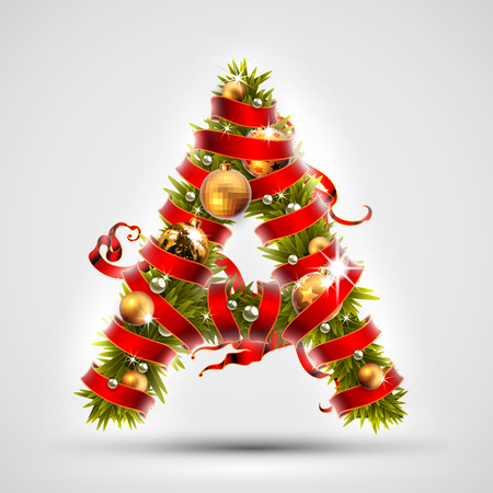 Christmas font. Letter A of Christmas tree branches, decorated with a red ribbon and golden balls. Highly realistic illustration.