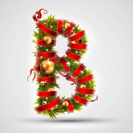 Christmas font. Letter B of Christmas tree branches, decorated with a red ribbon and golden balls. Highly realistic illustration.