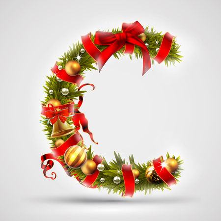 Christmas font. Letter C of Christmas tree branches, decorated with a red ribbon and golden balls. Highly realistic illustration.