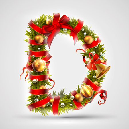 Christmas font. Letter D of Christmas tree branches, decorated with a red ribbon and golden balls. Highly realistic illustration