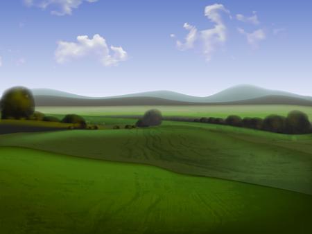 지평선, 높은 자세한 그림 필드와 구릉 풍경 일러스트