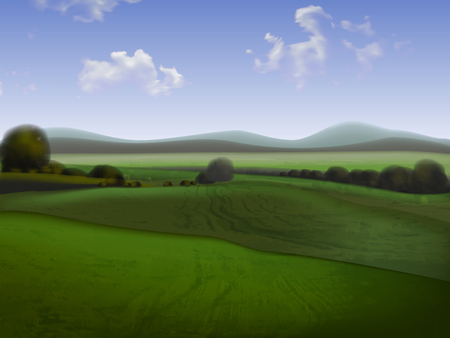 Hilly landscape with fields to the horizon, high detailed illustration