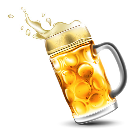 A traditional beer mug with bubbles and a foamy splash. Very realistic illustration with the effect of transparency.
