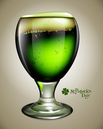 Advertising traditional St. Patricks Day with a transparent green glass of beer with bubbles and foam. Highly realistic illustration.