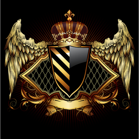 Heraldic shield on the background of exquisite decor. Highly realistic illustration.