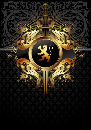 Decorative shield and sword on the background of heraldic ornament. Highly realistic illustration. Illustration