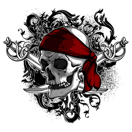 A skull in a red armband with sabers against the backdrop of decorative elements. Highly detailed realistic illustration. Can be used as an image on T-shirts. Vettoriali