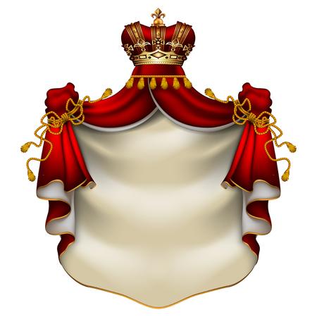 王冠を持つ赤いエルミン王室のマントルを持つ紋章の背景