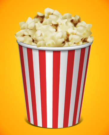 Popcorn in a striped plastic cup on a yellow background. Highly detailed illustration