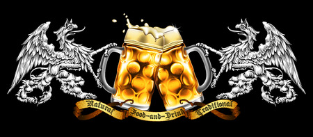 Design beer advertising in retro style with two griffins holding mugs of beer on a black background. High realistic illustration. Illustration
