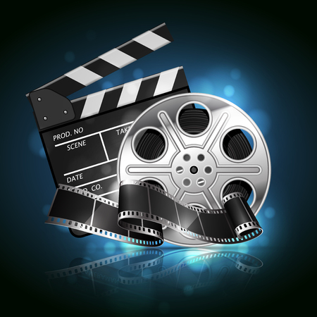 Illustration for the film industry. Reel, film and clapperboard  on a reflective surface on a background with highlights. Highly detailed illustration