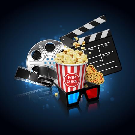 Illustrazione per l'industria cinematografica. Popcorn, bobina, pellicola e ciak su una superficie riflettente su uno sfondo con riflessi. Illustrazione altamente dettagliata