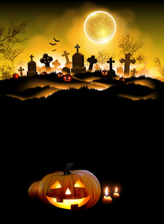Halloween night background with a cemetery and a moon. High detailed realistic illustration
