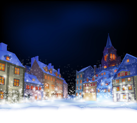 Cristmas background.  Fabulous snow-covered town in the Christmas night. Highly realistic illustration.