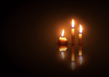 Three burning candles on a dark  background with reflection effect . Highly realistic illustration. Ilustração