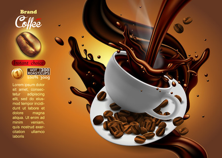 Design of advertising coffee with cup of coffee and splash effect, high detailed realistic illustration Иллюстрация
