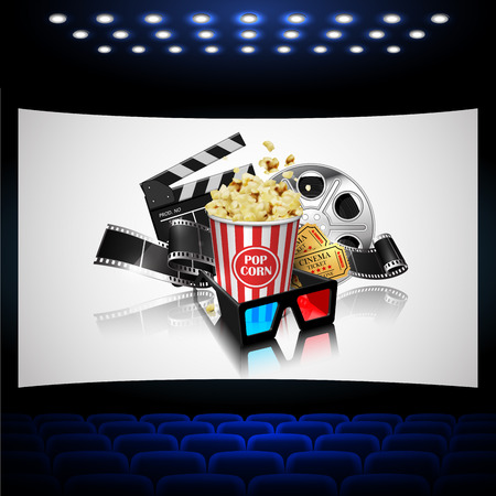 Illustration for the film industry. Popcorn, reel, film and clapperboard  on the cinema screen.. Highly detailed illustration