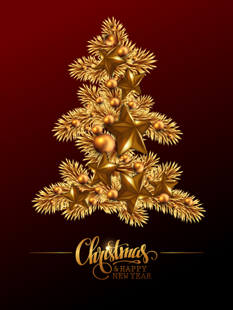 Christmas and New Year background. Golden Christmas tree with balls and stars and greeting inscription. High detailed realistic illustration.