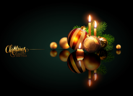 Merry Christmas and Happy New Year. Golden balls and burning candles on a reflective surface on a green background. Highly realistic illustration.